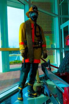 Fire equipment on mannequin