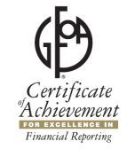GFOA Certificat of Achievement For Excellence in Financial Reporting